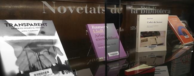 Llibres exposats a la vitrina de novetats